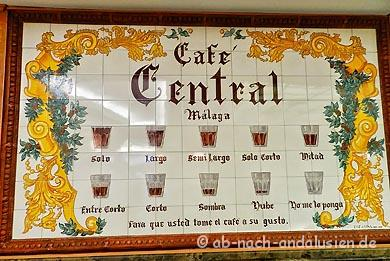Kaffeevariationen in Malaga