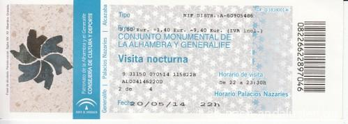 Eintrittskarte Alhambra