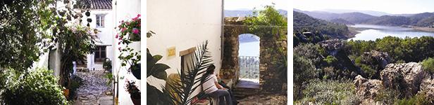 Altes Pflaster, weiße Häuschen und üppige Pflanzenpracht im Innern des alten Castillo (L) – Überaus Romantisch und etwas versteckt: Balkon der Liebenden (Mitte) – Beeindruckende Ausblicke über die Landschaft des Staussees Guadaranque (R).